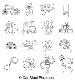 Childrens toys icons set, outline style - Childrens toys...