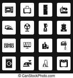 Household appliance icons set, simple style - icons set in...
