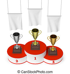 Winners podium with trophy cups and blank white flags top...