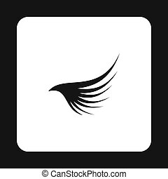 Style,  simple,  long, noir, icône, aile