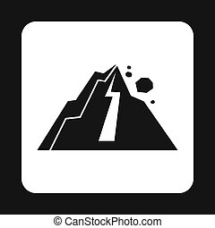 Rockfall in mountains icon, simple style - Rockfall in...