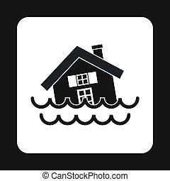 Flood icon, simple style - Flood icon in simple style...