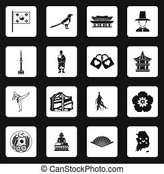 South Korea icons set, simple style - icons set in simple...