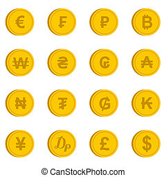 Currency from different countries icons set in flat style....