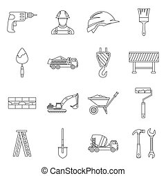 Construction icons set, outline style