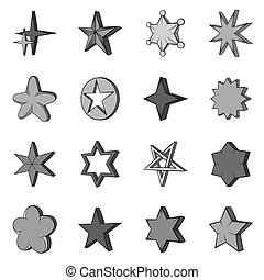 Star icons set in black monochrome style. Different stars...