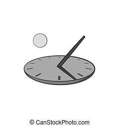 Sundial icon, black monochrome style - Sundial icon in black...
