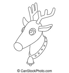 Deer head icon, outline style - Deer head icon in outline...