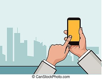 Vector flat linear illustration. Hand with smartphone and...