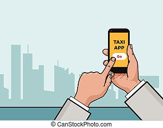 Taxi service app. Hand with smartphone and touchscreen. City...