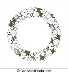 Wreath with cotton flowers