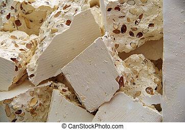 Chunks of white torrone - Italian dessert chunks of white...