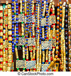 Beads necklaces - Necklaces made of wooden beads sold on...