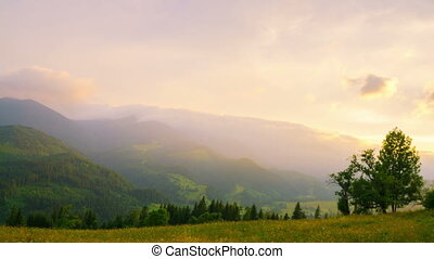 Sunset in the Mountains. - Sunset in the Summer Mountains....