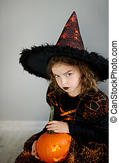 Beautiful girl of 8-9 years in image the evil fairy - The...
