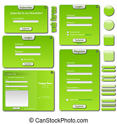 Image of a colorful green web template with forms, bars and buttons.