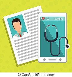 smartphone stethoscope medical doctor vector illustration...