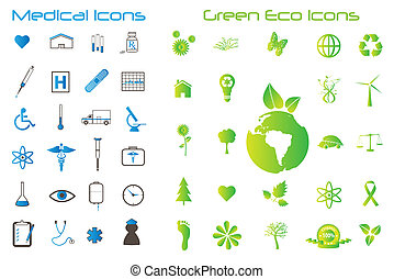 Image of various medical and eco-friendly green icons.