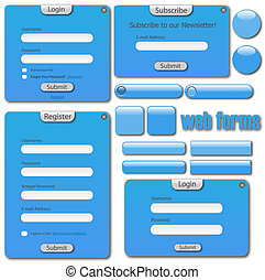 Image of a colorful blue web template with forms, bars and buttons.