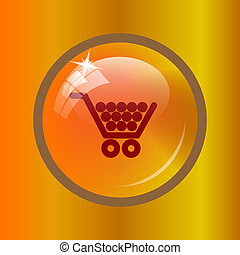 Shopping cart icon Internet button on colored background