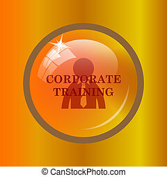 Corporate training icon. Internet button on colored...