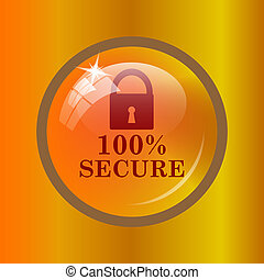 100 percent secure icon Internet button on colored...