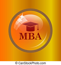 MBA icon. Internet button on colored background.