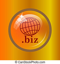 .biz icon. Internet button on colored background.