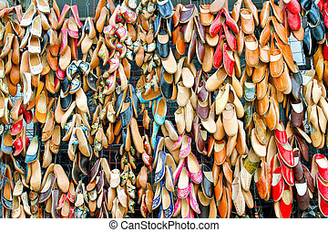 Egyptian shoes - Egyptian leather shoes sold on street...