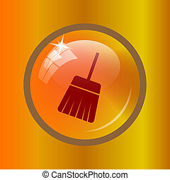 Sweep icon Internet button on colored background