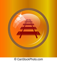 Rail road icon Internet button on colored background