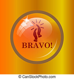 Bravo icon. Internet button on colored background.