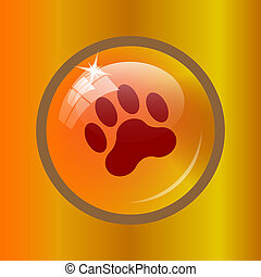 Paw print icon. Internet button on colored background.