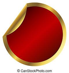 Red round sticker with golden frame