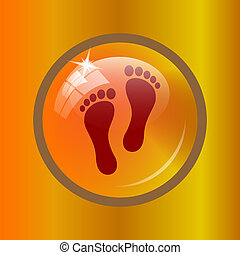 Foot print icon. Internet button on colored background.