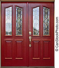 Red Door with cut beveled glass art panel