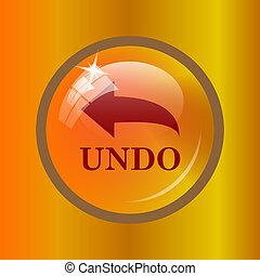 Undo icon. Internet button on colored background.
