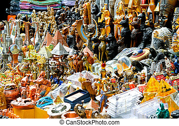 Souvenirs - Egyptian souvenirs sold on Cairo market stall