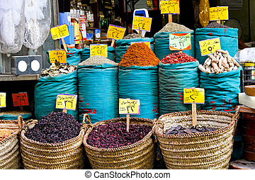 Spices sold on Cairo market in sacks and baskets