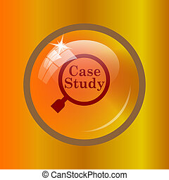 Case study icon Internet button on colored background
