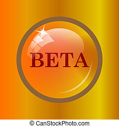 Beta icon. Internet button on colored background.