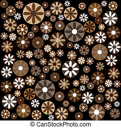 Brown flowers and circles