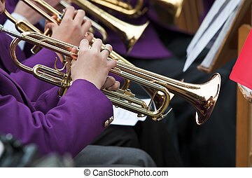 Trumpet Players - Young musicians are playing on trumpet