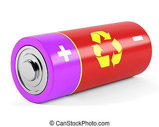 AA size batteries on white background. 3D rendering