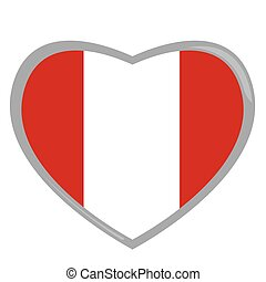 Isolated Peruvian flag on a heart shape, Vector illustration