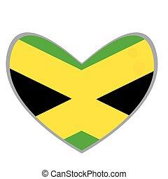 Isolated Jamaican flag on a heart shape, Vector illustration