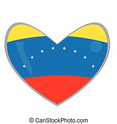 Isolated Venezuelan flag on a heart shape, Vector...