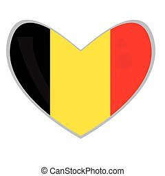 Isolated Belgian flag on a heart shape, Vector illustration