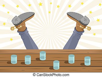 Drunk cowboy fell out of the bar. Vector cartoon background...