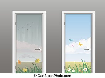 The doors in the summer and autumn - Two doors depicting the...